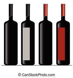 cor, vetorial, garrafa, vinho