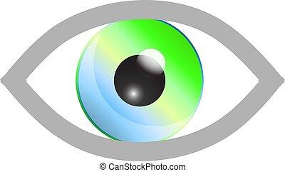 cor, vetorial, ilustração, eye.
