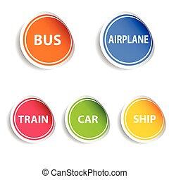 cor, vetorial, transporte, veículo