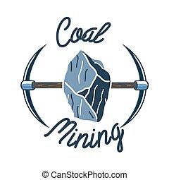 cor, vindima, mineração, emblema, carvão