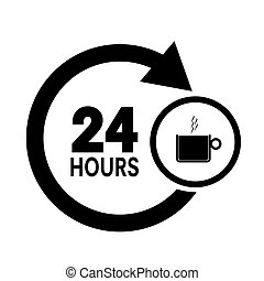 cor xícara café, ilustração, pretas, ícone