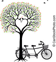 coração, árvore, com, pássaros, e, bicicleta