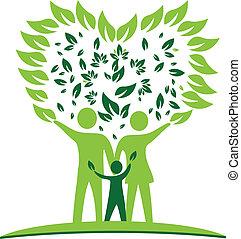 coração, árvore, família, folheia, logotipo