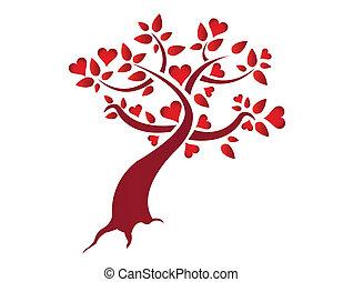 coração, árvore, ilustração