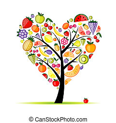 coração, árvore, seu, fruta, desenho, energia, forma