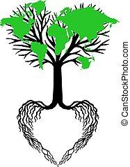 coração, árvore, verde, mapa mundial
