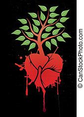 coração, árvore, vermelho