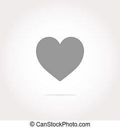 coração, ícone, button., feriado, coração, ícone, arte