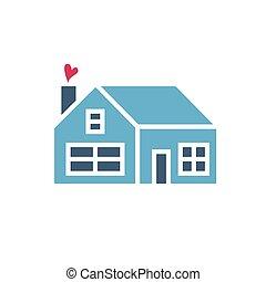 coração, ícone, casa