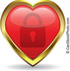 coração, ícone, fechadura