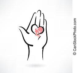 coração, ícone, grunge, mão