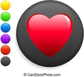 coração, ícone, ligado, redondo, internet, botão