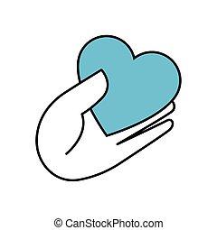 coração, ícone, mão, isolado