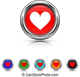 coração, ícone, -, seis, cores, jogo