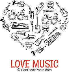 coração, ícones, instrumentos, clássicas, dado forma, ...
