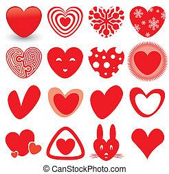 coração, ícones, jogo