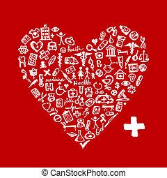 coração, ícones, médico, forma, desenho, seu