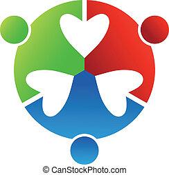 coração, 3, design., negócio, logotipo