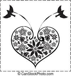 coração, 3, flores, pássaros