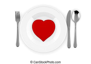 coração, 3d, prato vermelho