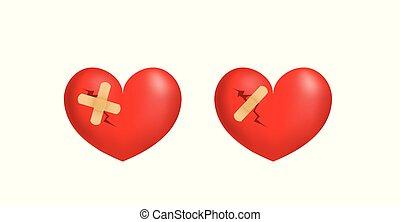 coração, 3d, quebrada