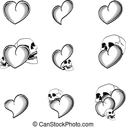 coração, 4, cranio, tatuagem