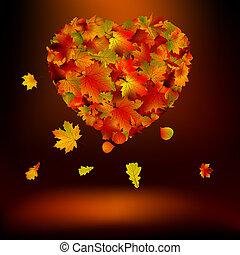 coração, 8, leaves., eps, outonal