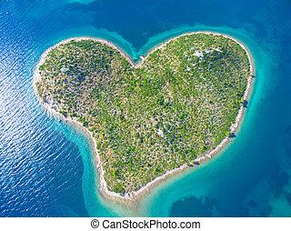 coração, aéreo, dado forma, ilha, adriático, galesnjak, coast., vista
