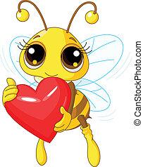 coração, abelha, amor, segurando, cute