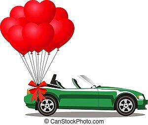 coração, aberta, cabriolé, car, verde, balões, caricatura