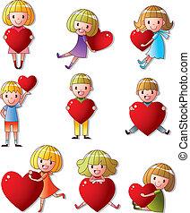 coração, abraço, jogo, criança