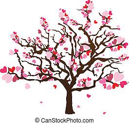 coração, abstratos, árvore, forma