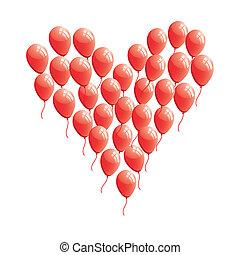 coração, abstratos, balloon, vermelho