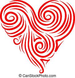 Coração, abstratos, desenho, FORMA, seu