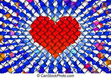 coração, abstratos, fundo