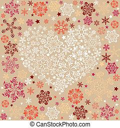 coração, abstratos, snowflake