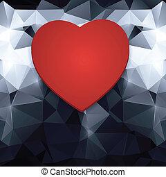coração, abstratos, vermelho, experiência.