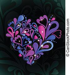 coração, abstratos, vetorial, colorful.