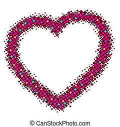 coração, abstratos, vetorial, vermelho
