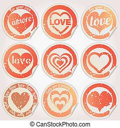 coração, adesivo, vetorial, grunge, amor