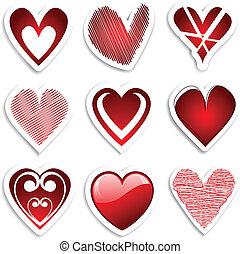 coração, adesivos