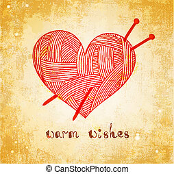coração, agulha tricô, grunge, fundo