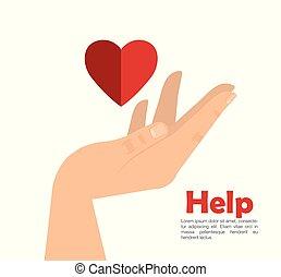 coração, ajuda, mão
