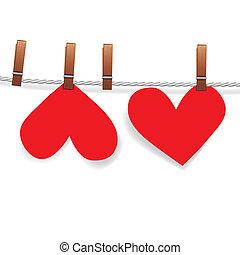 coração, alfinete, anexado, varal, papel, vermelho