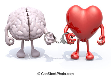 coração, algemas, braços, mão, cérebro, pernas, ligado