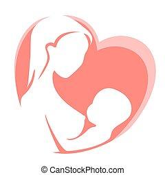 coração, alimentação, mãe, peito, fundo, criança, vermelho