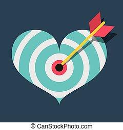 coração, alvo, apartamento, ilustração, dardo, vetorial, desenho