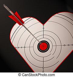 coração, alvo, mostra, sucedido, romance