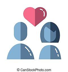 coração, amantes, valentines, par feliz, dia