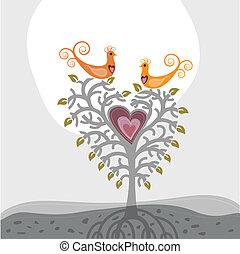 coração, ame pássaros, árvore, dado forma